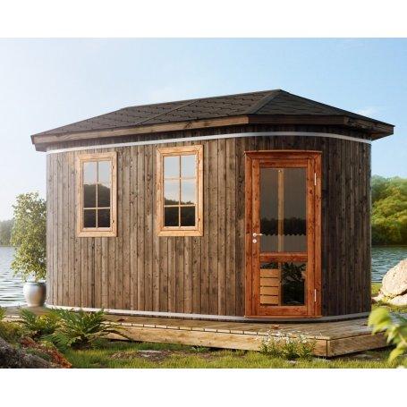 Pihasauna Elbrus 440 termopuusta on laadukas Sauna jossa Löylyhuone, pukuhuine sekä pesuhuone. Sisältää puulämmitteinen kiuas, T