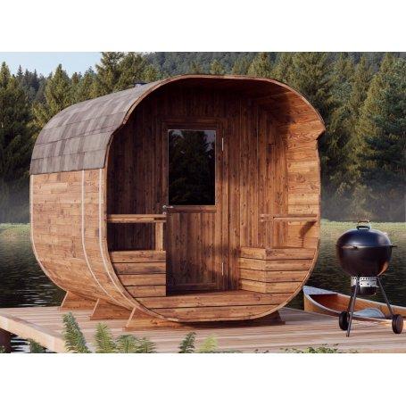 Tynnyrisauna Armas 270 termo on laadukas tynnyri muotoinen pihasauna, sisältää puulämmitteisen kiukaan, koko 270x240.
