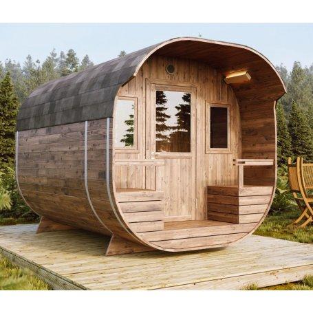 Tynnyrisauna Iso Armas 396 termo pesuhuoneella on laadukas tynnyri muotoinen pihasauna, sisältää puulämmitteisen kiukaan, koko 3