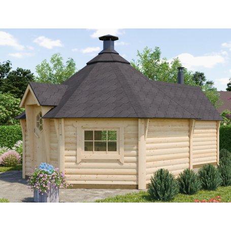 Laajennettu Grilli & Saunakota 17 + 4 m2 suunnittelun lähtökohtana oli saavuttaa aito saunan tunnelma. Kotasaunan tarkoitus on r