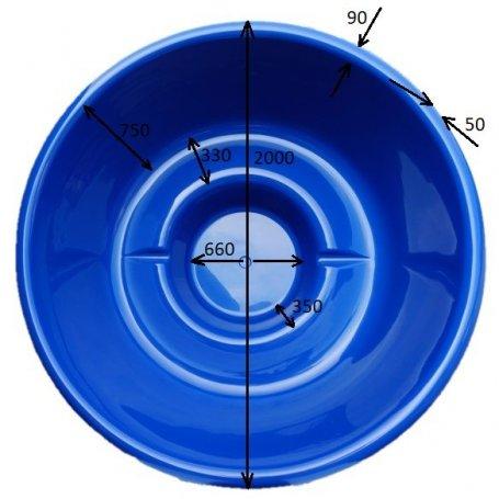 Kylpytynnyrin lasikuituinen tynnyriosa, eli Palju 1500 L jopa 8:lle. Laadukas palju tee se itse miehelle.