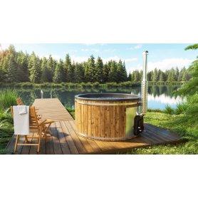 Kylpytynnyri tarjous 6-8 hengelle, kylpyvalmis palju heti toimitukseen, laadukkaasta lasikuidusta ja integroitu kamina