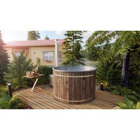 Kylpytynnyri tarjous 6-8 hengelle, kylpyvalmis palju heti toimitukseen, laadukkaasta lasikuidusta ja integroitu kamina ja thermo