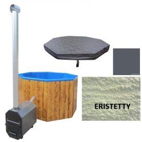 Kylpytynnyri lasikuitua 6 hengelle, ulkoinen 30 kw kamina, eristys ja lämpökansi. Palju 1200 L heti toimitukseen.