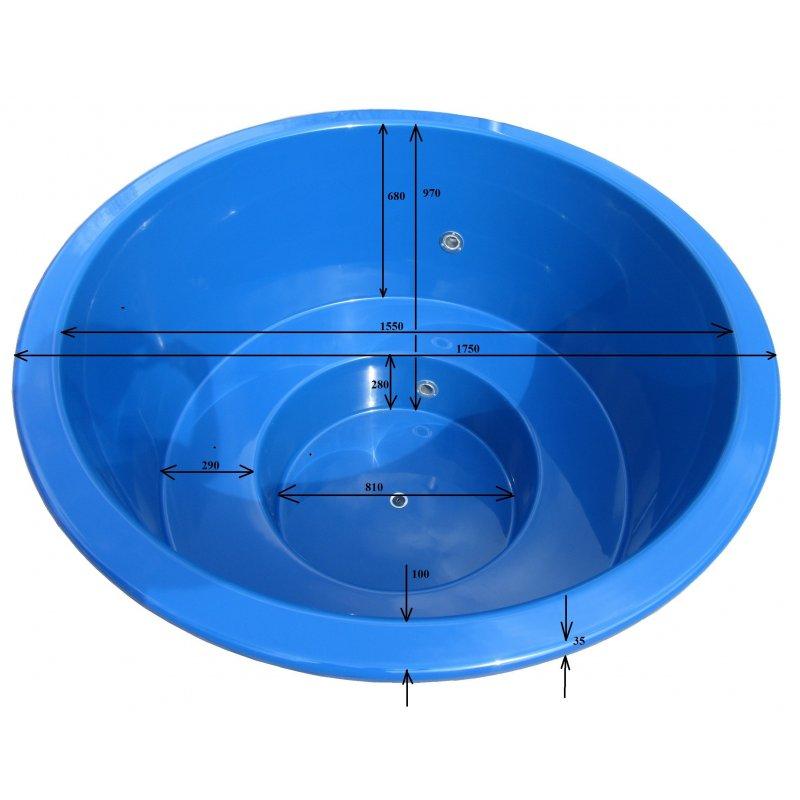 Lasikuituinen kylpytynnyri 1000 L itserakentajille
