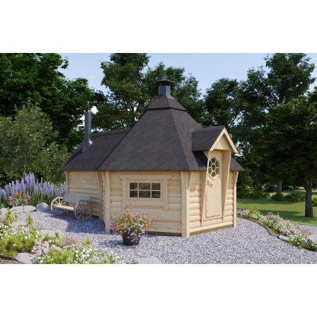 Laajennettu Grilli & Saunakota 9 + 4 m2 suunnittelun lähtökohtana oli saavuttaa aito saunan tunnelma. Kotasaunan tarkoitus on r