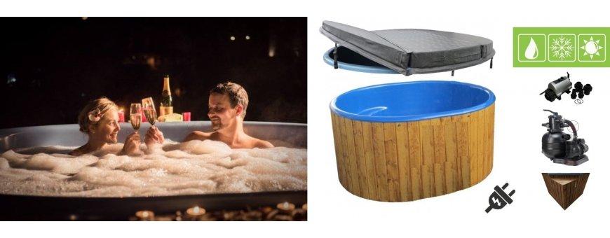 Sähkökäyttöisen kylpytynnyrin etuna on helppo ylläpito vuoden ajasta riippuen ja vaivatonta, kun vesi pysyy lämpöisenä ja suodatin puhdistaa veden!